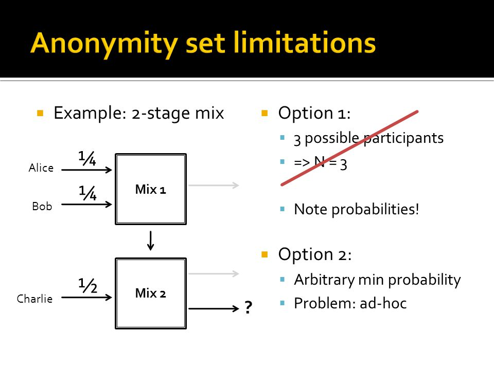  Example: 2-stage mix  Option 1:  3 possible participants  => N = 3  Note probabilities.
