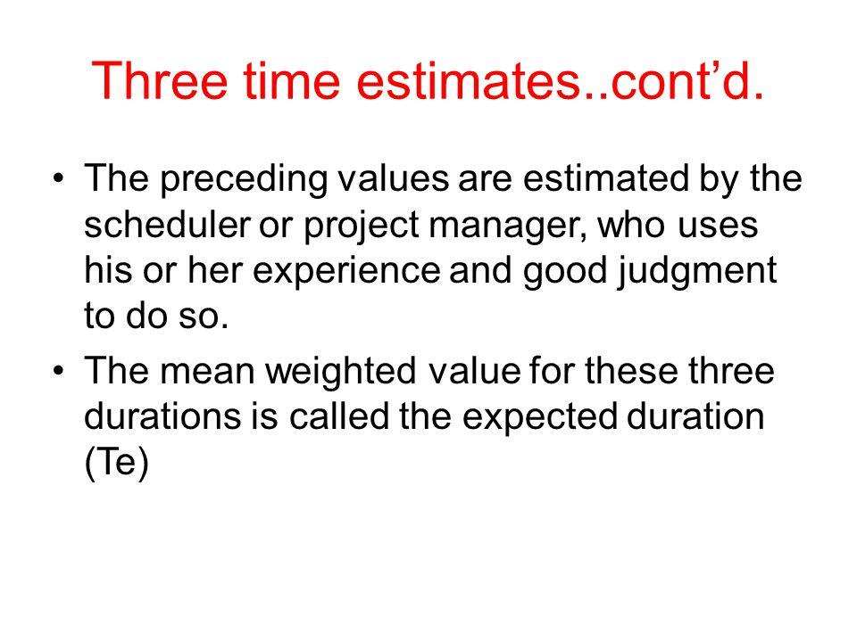 Three time estimates..cont'd.