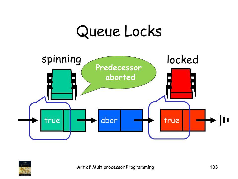 Art of Multiprocessor Programming103 Queue Locks locked true abor true spinning Predecessor aborted