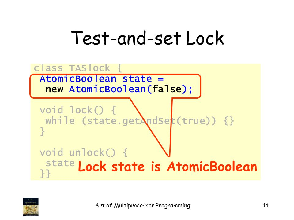 Art of Multiprocessor Programming11 Test-and-set Lock class TASlock { AtomicBoolean state = new AtomicBoolean(false); void lock() { while (state.getAn