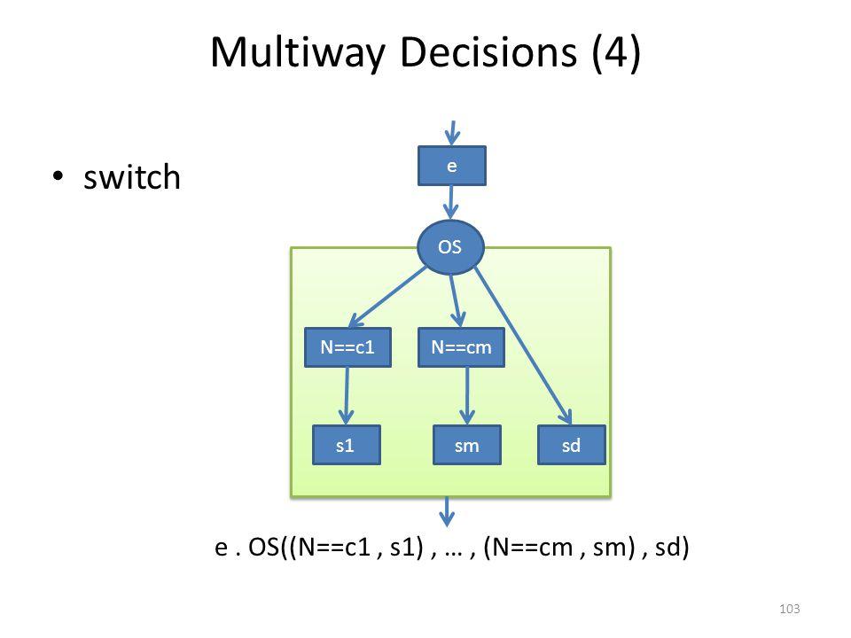 Multiway Decisions (4) switch 103 N==c1N==cm s1 OS smsd e e. OS((N==c1, s1), …, (N==cm, sm), sd)