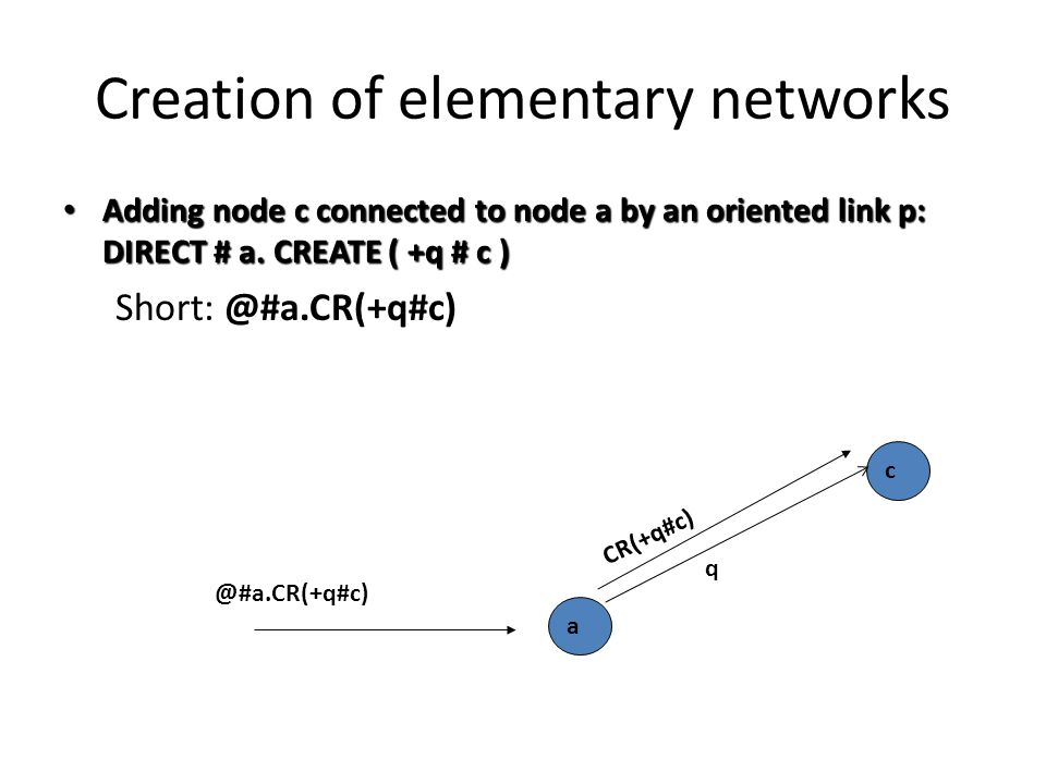 Creation of elementary networks Adding node c connected to node a by an oriented link p: DIRECT # a.