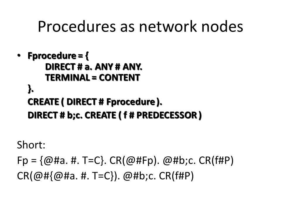 Procedures as network nodes Fprocedure = { DIRECT # a.