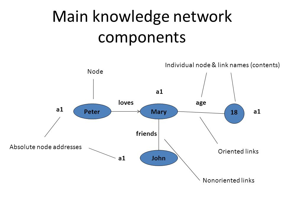 Main knowledge network components 18 PeterMary John lovesage a1 Node Absolute node addresses friends Nonoriented links Oriented links Individual node & link names (contents)