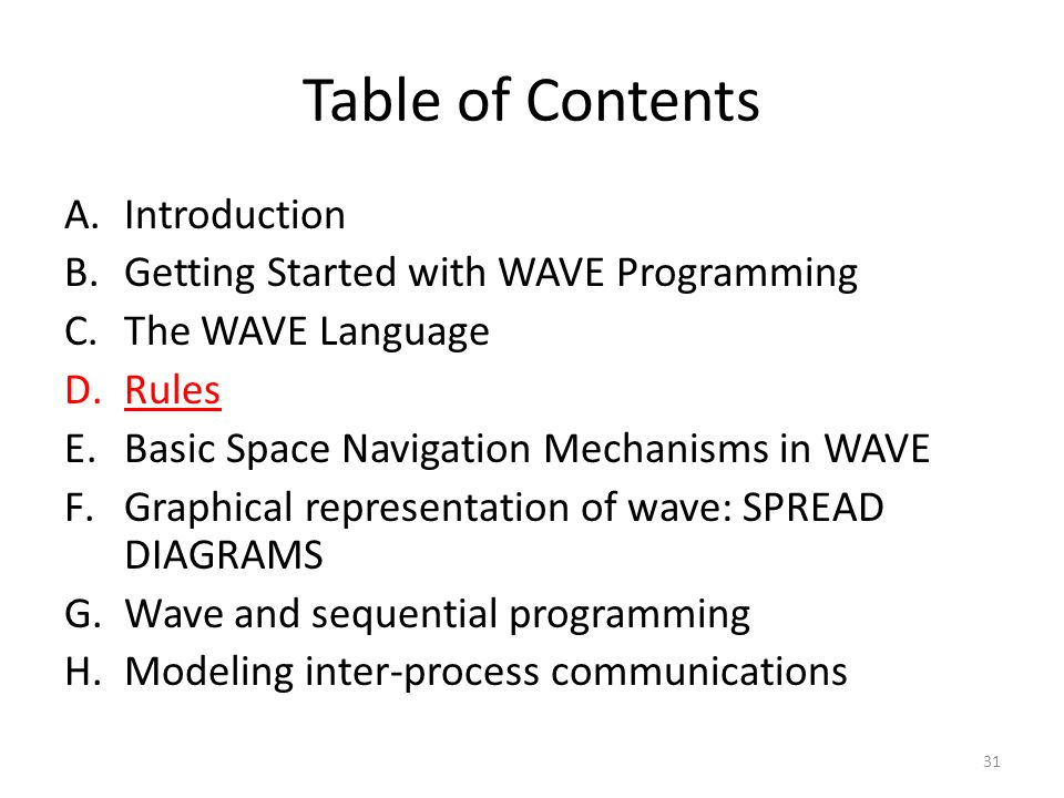 Table of Contents A.Introduction B.Getting Started with WAVE Programming C.The WAVE Language D.Rules E.Basic Space Navigation Mechanisms in WAVE F.Graphical representation of wave: SPREAD DIAGRAMS G.Wave and sequential programming H.Modeling inter-process communications 31