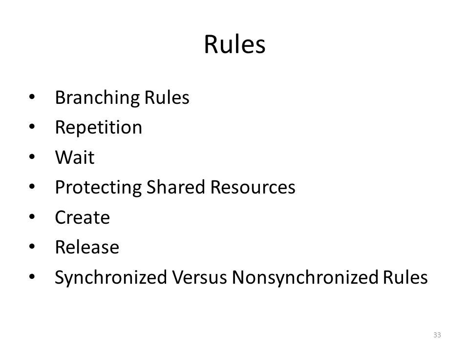 Rules Branching Rules Repetition Wait Protecting Shared Resources Create Release Synchronized Versus Nonsynchronized Rules 33