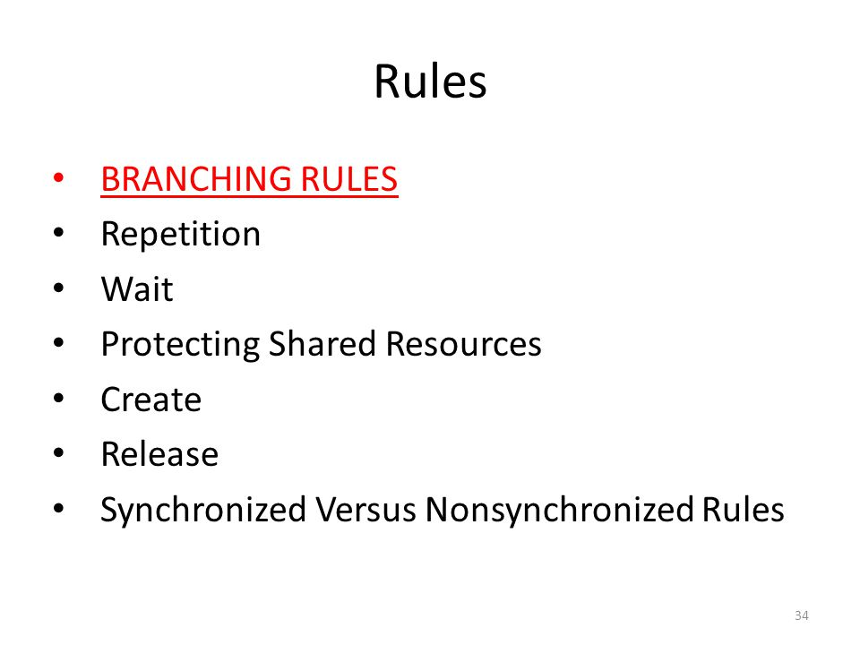 Rules BRANCHING RULES Repetition Wait Protecting Shared Resources Create Release Synchronized Versus Nonsynchronized Rules 34