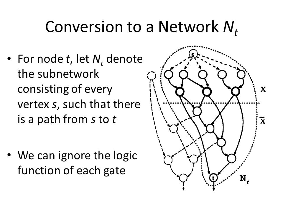 Conversion to a Network N t For node t, let N t denote the subnetwork consisting of every vertex s, such that there is a path from s to t We can ignor