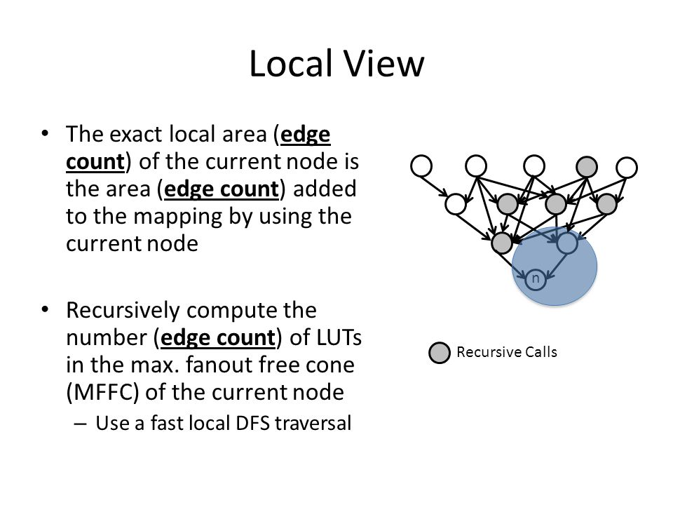 Local View The exact local area (edge count) of the current node is the area (edge count) added to the mapping by using the current node Recursively c