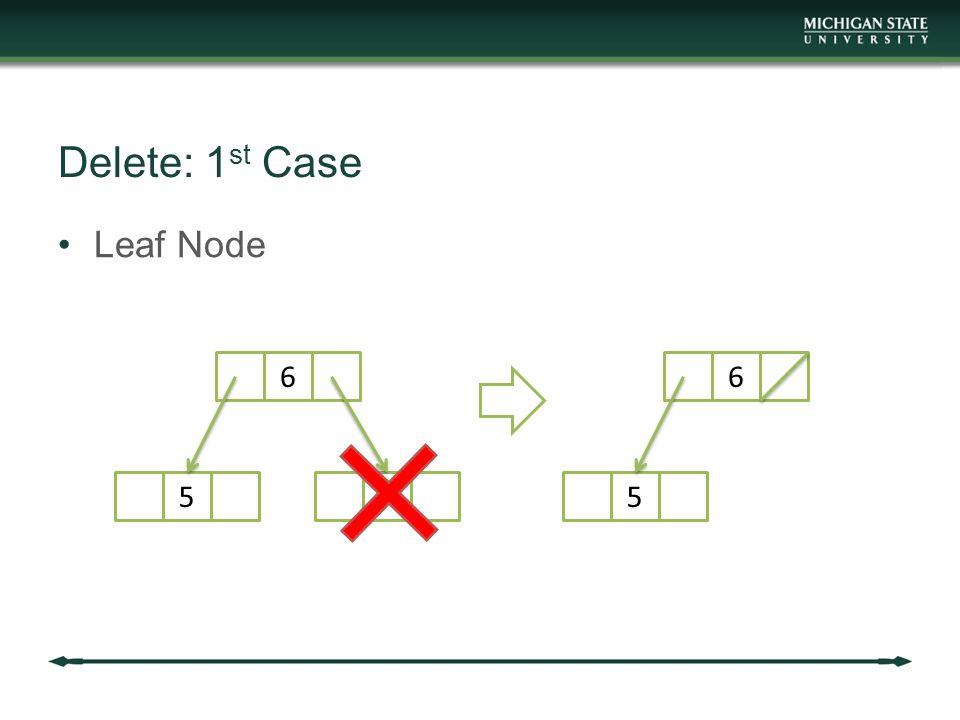 Delete: 1 st Case Leaf Node 6 57 6 5