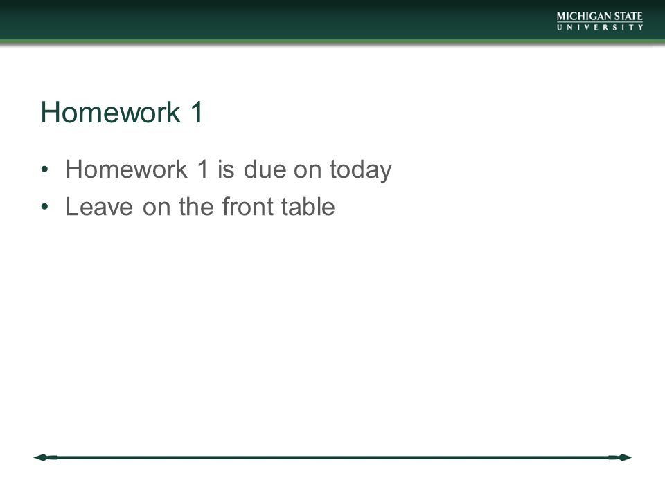 Homework 1 Homework 1 is due on today Leave on the front table