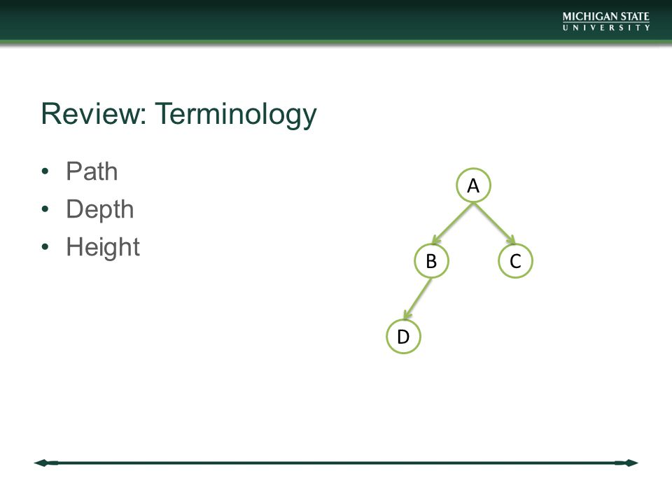 Review: Terminology Path Depth Height A BC D