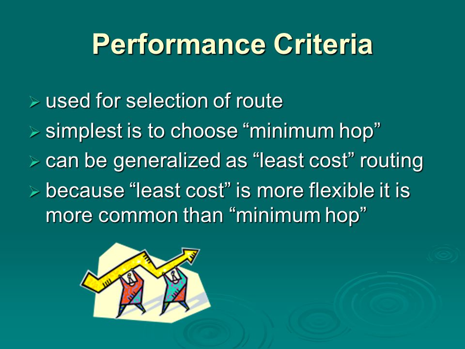 Performance Criteria  used for selection of route  simplest is to choose minimum hop  can be generalized as least cost routing  because least cost is more flexible it is more common than minimum hop