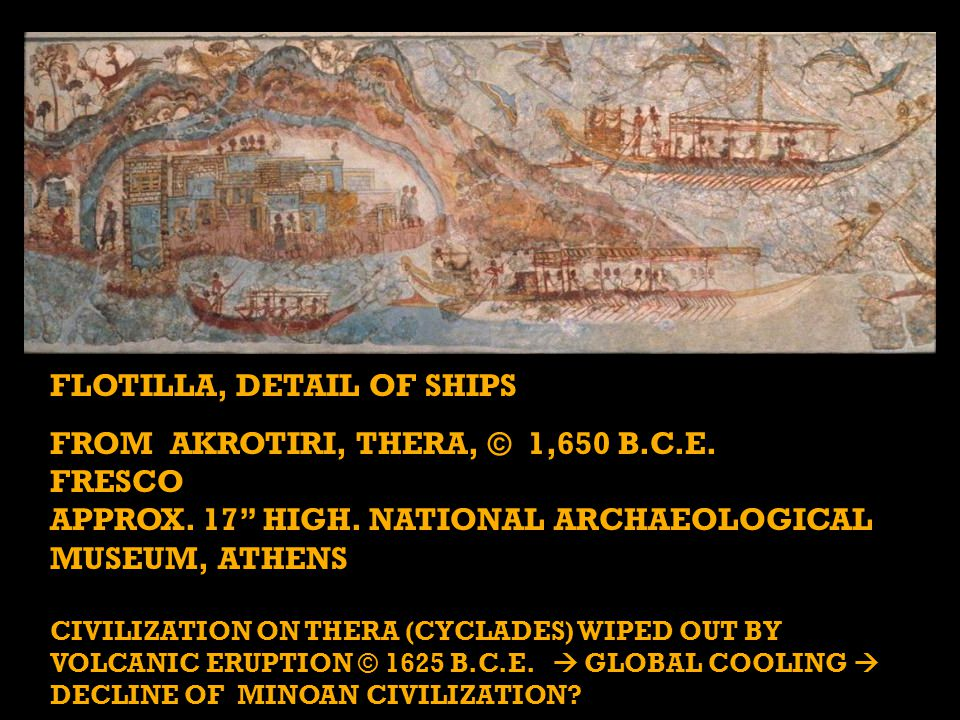 """FLOTILLA, DETAIL OF SHIPS FROM AKROTIRI, THERA, © 1,650 B.C.E. FRESCO APPROX. 17"""" HIGH. NATIONAL ARCHAEOLOGICAL MUSEUM, ATHENS CIVILIZATION ON THERA ("""