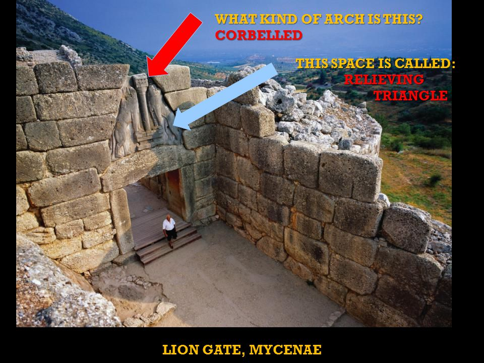 LION GATE, MYCENAE WHAT KIND OF ARCH IS THIS.