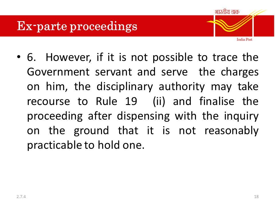 Ex-parte proceedings 6.