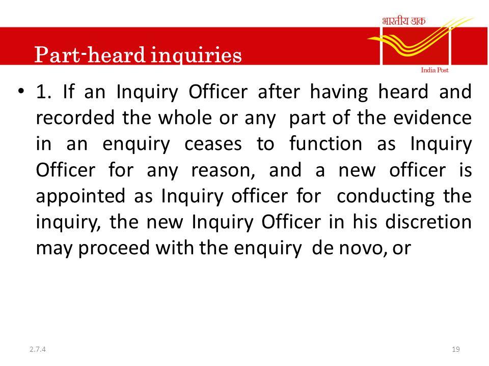 Part-heard inquiries 1.
