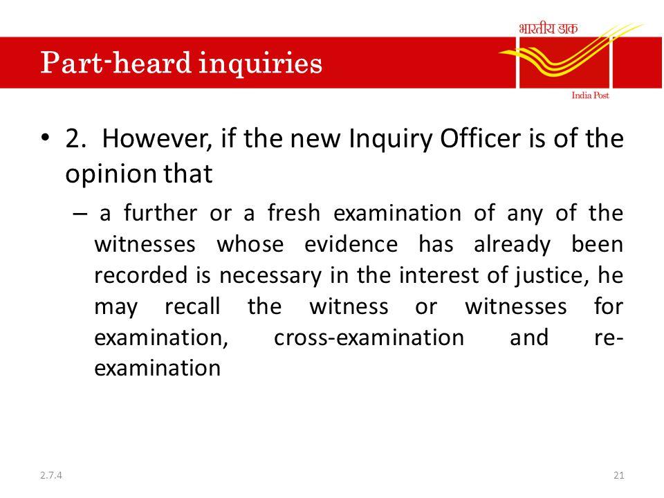 Part-heard inquiries 2.