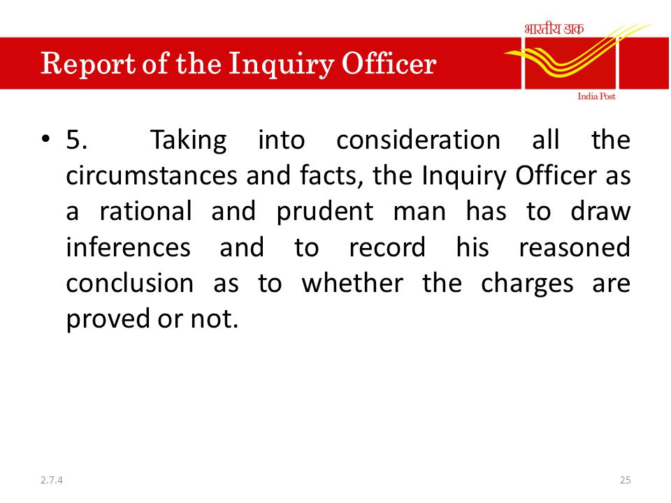 Report of the Inquiry Officer 5.