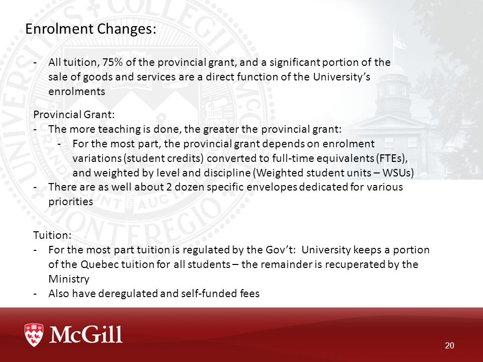 Enrolment Changes: 20 -All tuition, 75% of the provincial grant, and a significant portion of the sale of goods and services are a direct function of the University's enrolments Provincial Grant: -The more teaching is done, the greater the provincial grant: -For the most part, the provincial grant depends on enrolment variations (student credits) converted to full-time equivalents (FTEs), and weighted by level and discipline (Weighted student units – WSUs) -There are as well about 2 dozen specific envelopes dedicated for various priorities Tuition: -For the most part tuition is regulated by the Gov't: University keeps a portion of the Quebec tuition for all students – the remainder is recuperated by the Ministry -Also have deregulated and self-funded fees