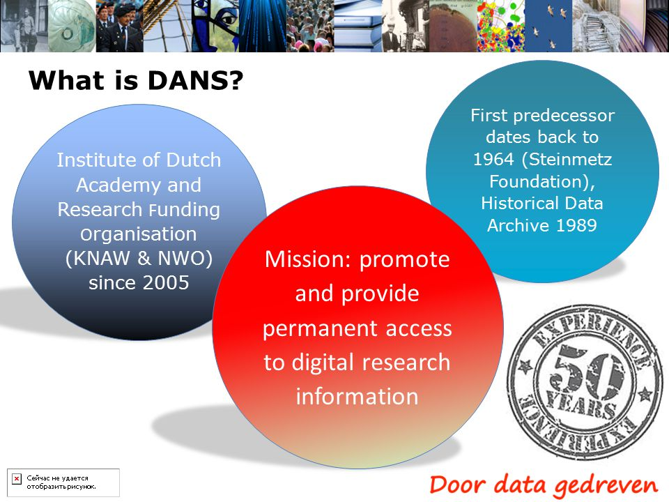 What is DANS? Institute of Dutch Academy and Research F unding O rganisation (KNAW & NWO) since 2005 First predecessor dates back to 1964 (Steinmetz F