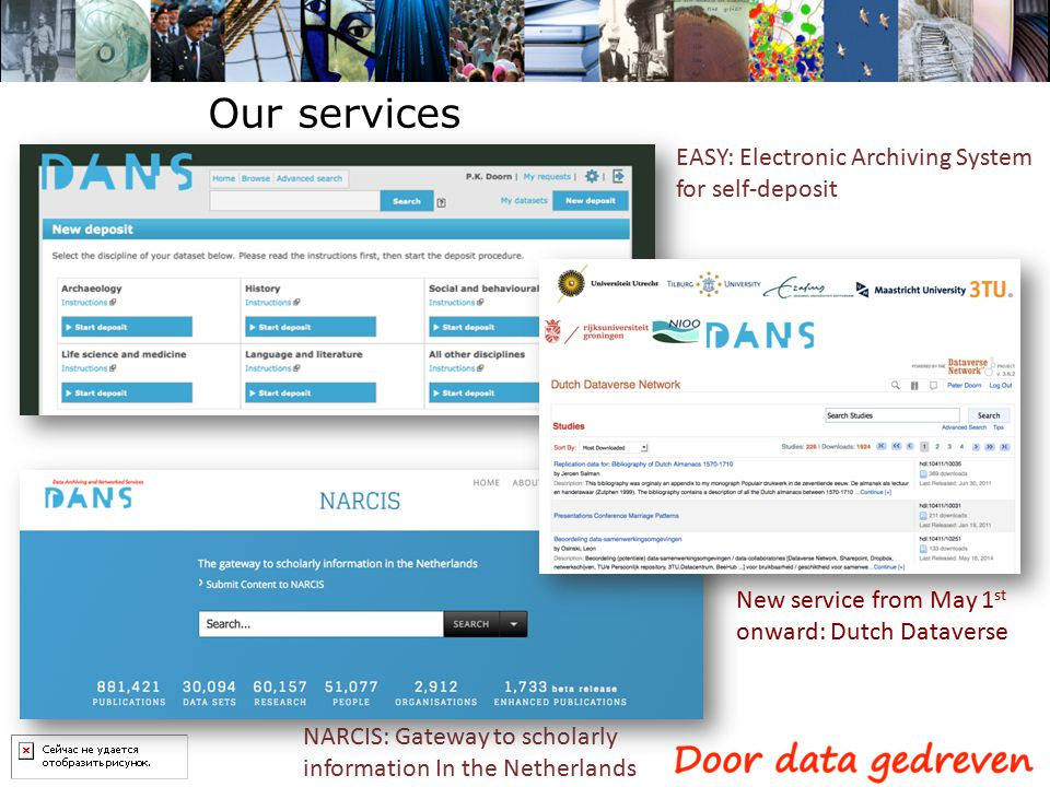 EASY: Electronic Archiving System for self-deposit NARCIS: Gateway to scholarly information In the Netherlands Our services New service from May 1 st