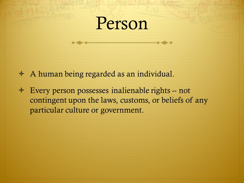 Person  A human being regarded as an individual.