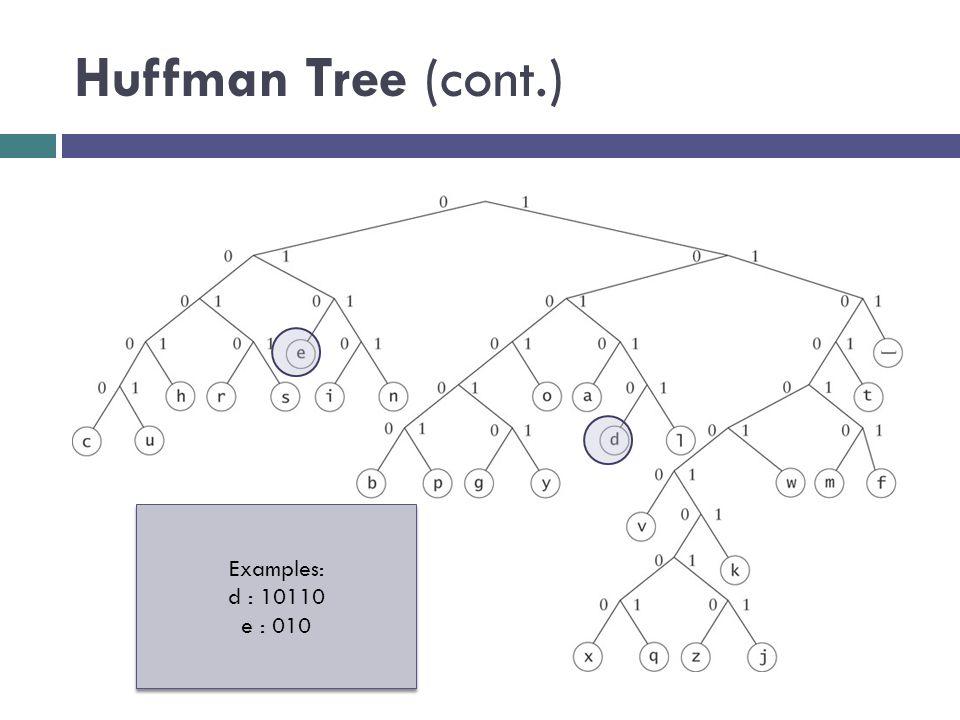 Huffman Tree (cont.) Examples: d : 10110 e : 010 Examples: d : 10110 e : 010