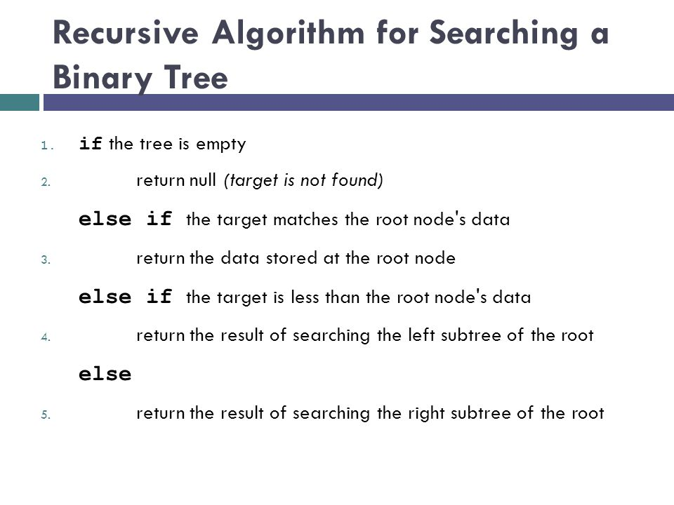 Recursive Algorithm for Searching a Binary Tree 1.