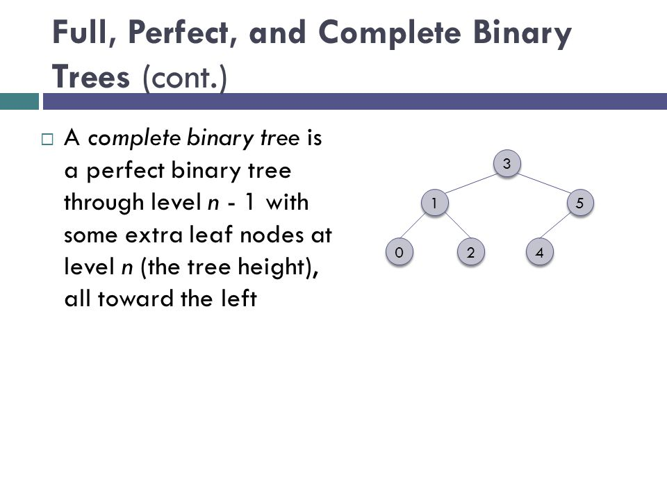 Full, Perfect, and Complete Binary Trees (cont.)  A complete binary tree is a perfect binary tree through level n - 1 with some extra leaf nodes at level n (the tree height), all toward the left 3 3 1 1 4 4 2 2 0 0 5 5