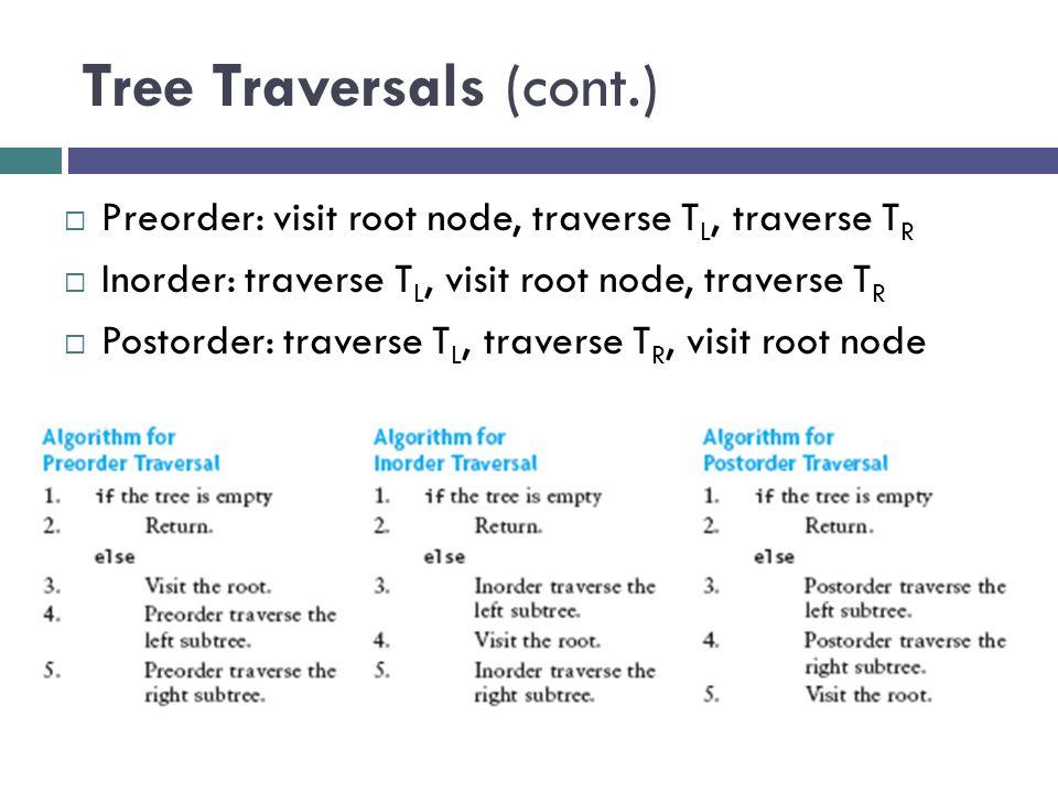 Tree Traversals (cont.)  Preorder: visit root node, traverse T L, traverse T R  Inorder: traverse T L, visit root node, traverse T R  Postorder: traverse T L, traverse T R, visit root node