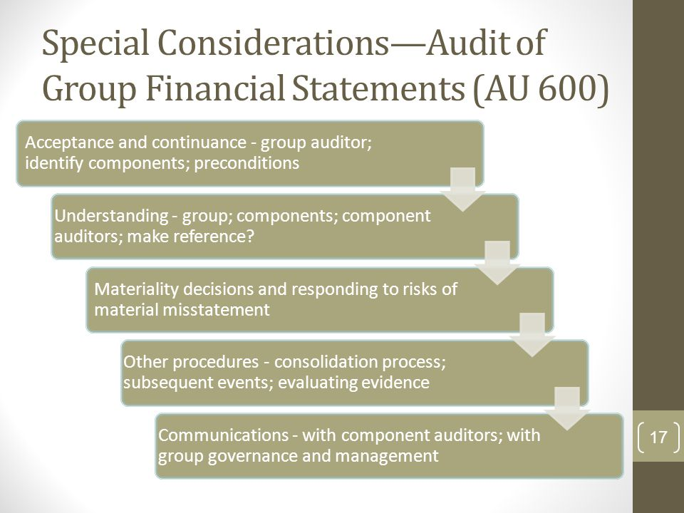 Special Considerations—Audit of Group Financial Statements (AU 600) Acceptance and continuance - group auditor; identify components; preconditions Und