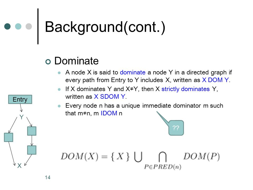 14 Background(cont.) Dominate A node X is said to dominate a node Y in a directed graph if every path from Entry to Y includes X, written as X DOM Y.