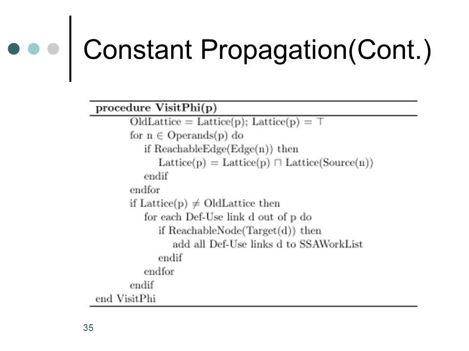 Constant Propagation(Cont.) 35