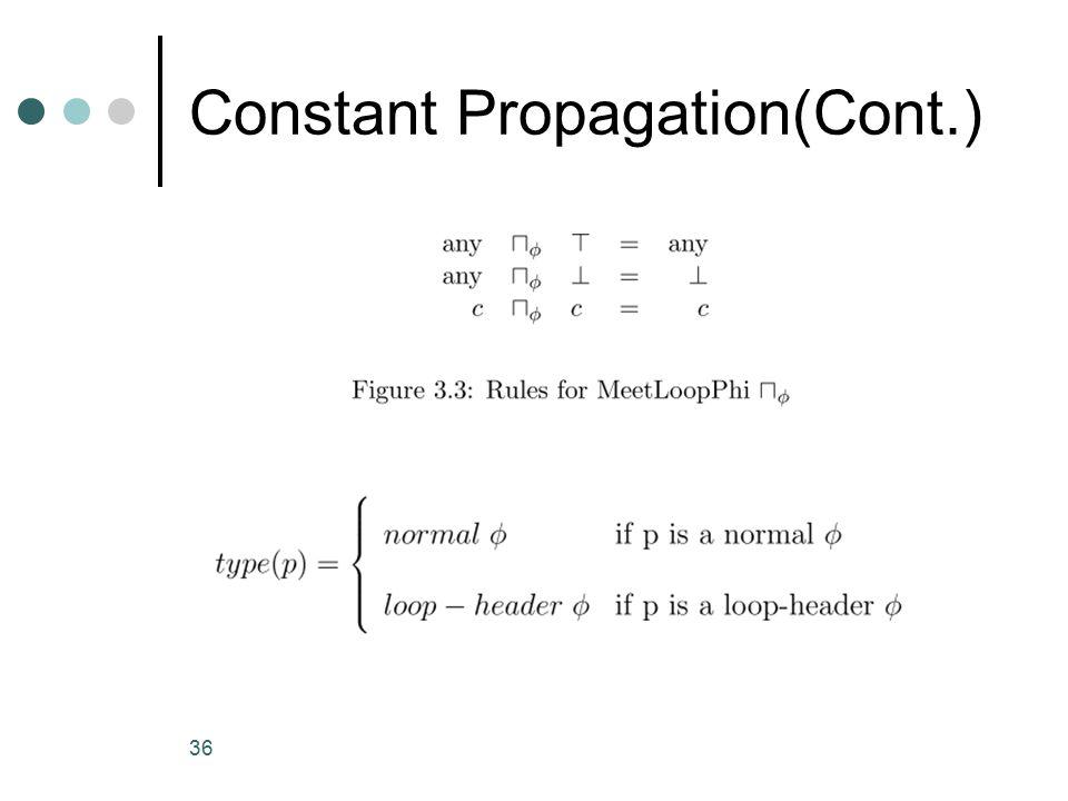 Constant Propagation(Cont.) 36