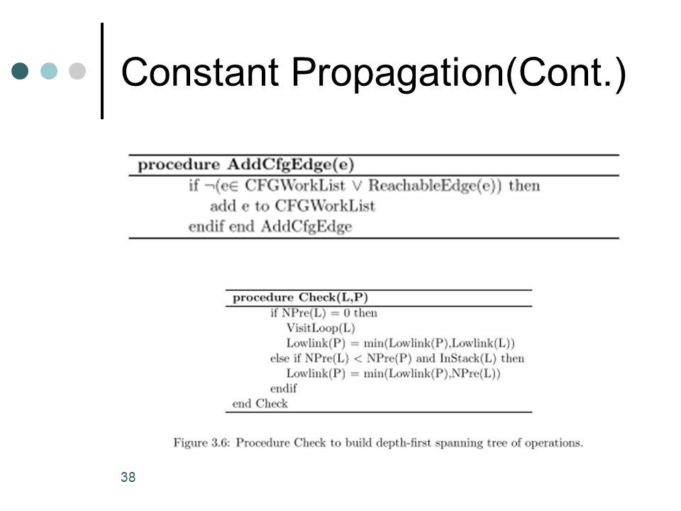 Constant Propagation(Cont.) 38