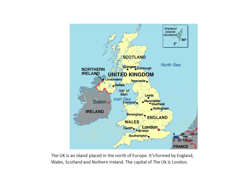 The UK is an island placed in the north of Europe.