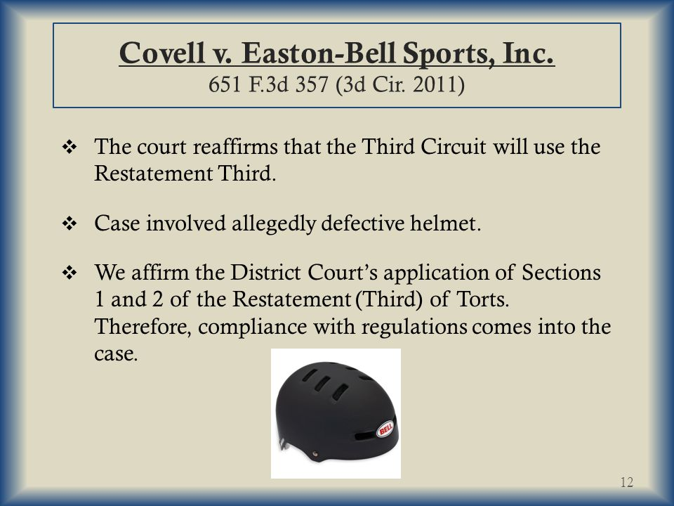Covell v.Easton-Bell Sports, Inc. 651 F.3d 357 (3d Cir.
