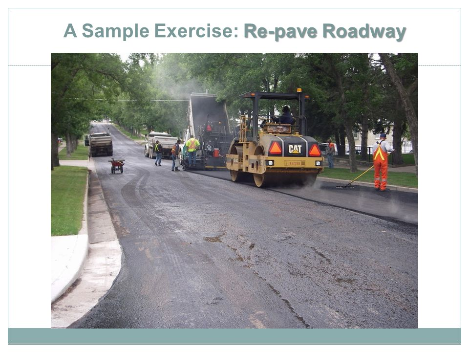 Re-pave Roadway A Sample Exercise: Re-pave Roadway