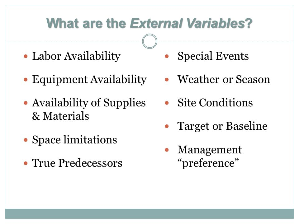What are the External Variables.