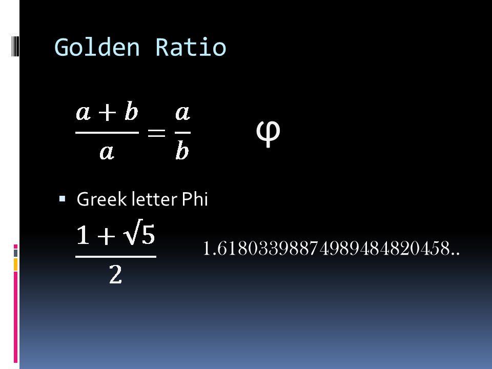  Greek letter Phi 1.61803398874989484820458.. ϕ