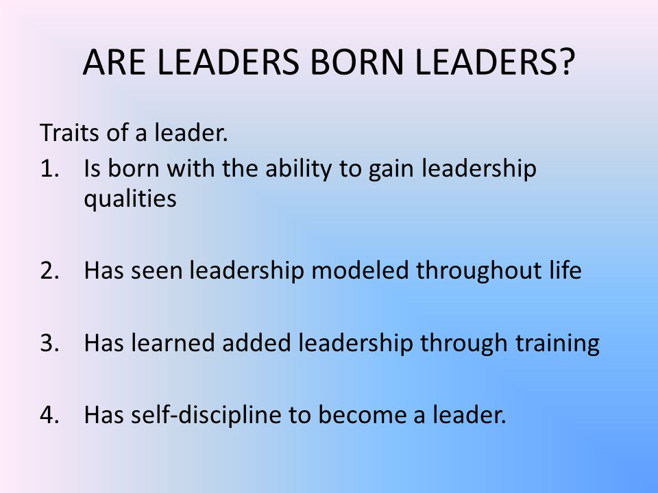 ARE LEADERS BORN LEADERS. Traits of a leader.