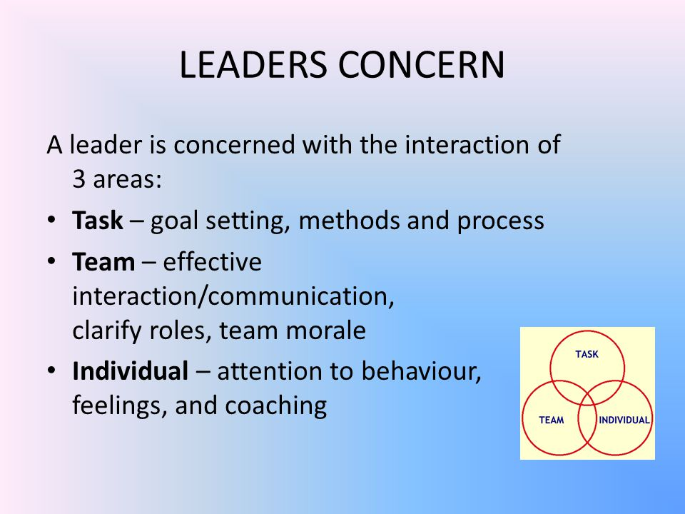 LEADERS CONCERN A leader is concerned with the interaction of 3 areas: Task – goal setting, methods and process Team – effective interaction/communication, clarify roles, team morale Individual – attention to behaviour, feelings, and coaching