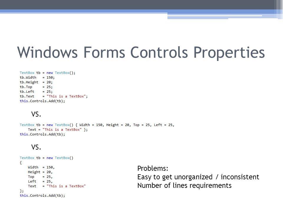 Windows Forms Controls Properties VS.