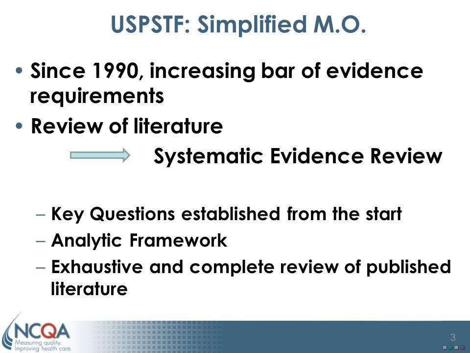 3 USPSTF: Simplified M.O.