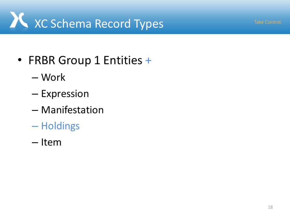 XC Schema Record Types FRBR Group 1 Entities + – Work – Expression – Manifestation – Holdings – Item 18