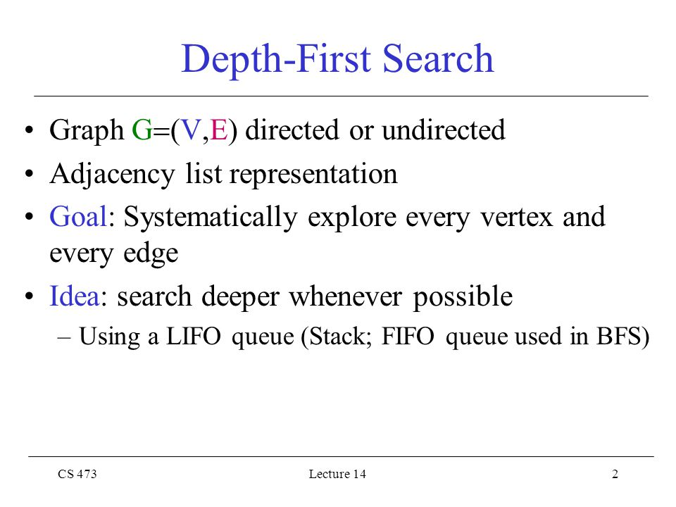 CS 473Lecture 1413 Depth-First Search: Example