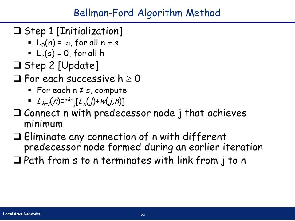 Local Area Networks 23 Bellman-Ford Algorithm Method  Step 1 [Initialization]  L 0 (n) = , for all n  s  L h (s) = 0, for all h  Step 2 [Update]  For each successive h  0  For each n ≠ s, compute  L h+1 (n)= min j [L h (j)+w(j,n)]  Connect n with predecessor node j that achieves minimum  Eliminate any connection of n with different predecessor node formed during an earlier iteration  Path from s to n terminates with link from j to n