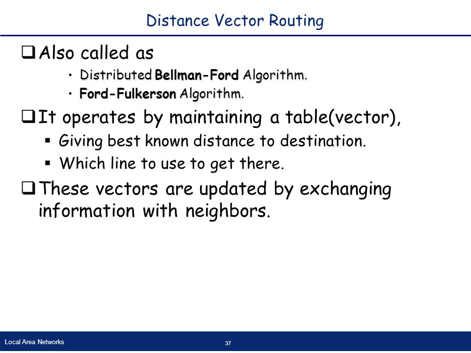 Local Area Networks 37 Distance Vector Routing  Also called as Distributed Bellman-Ford Algorithm.Distributed Bellman-Ford Algorithm.