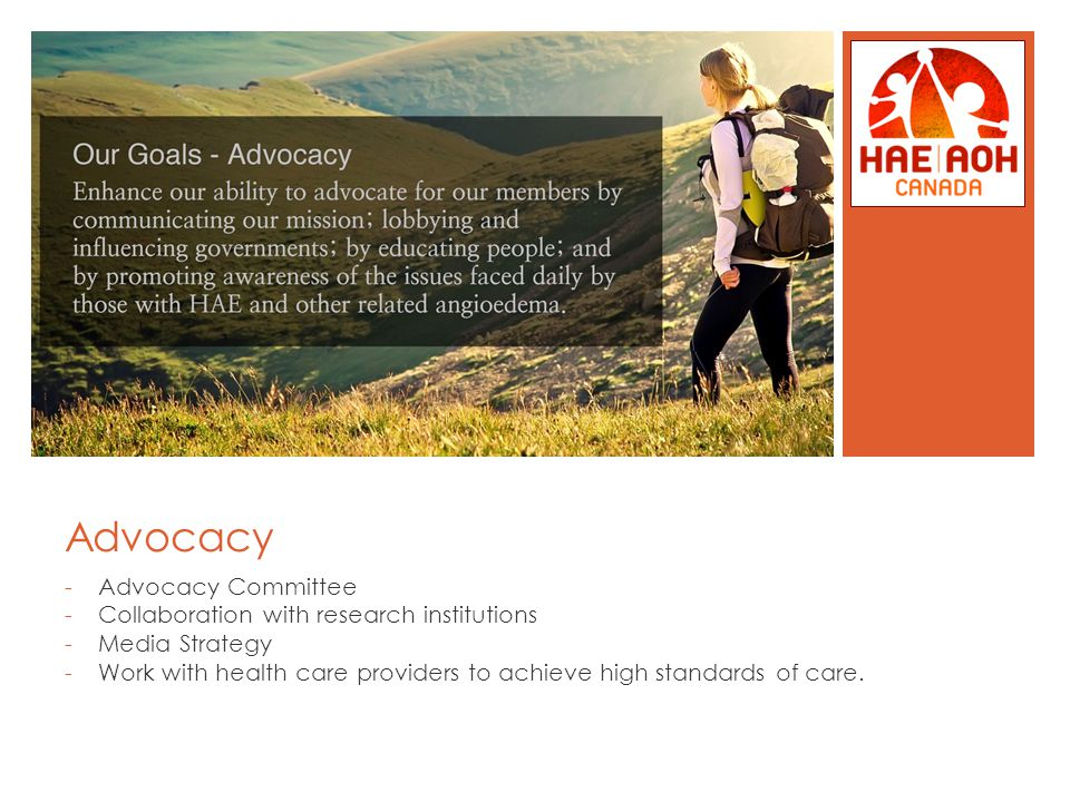 Advocacy -Advocacy Committee -Collaboration with research institutions -Media Strategy -Work with health care providers to achieve high standards of care.